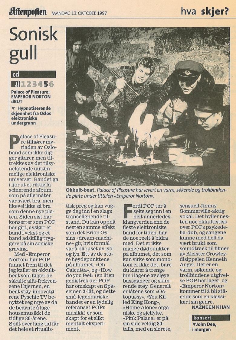 1997-10-13-Aftenposten-Emperor-Norton-anmeldelse